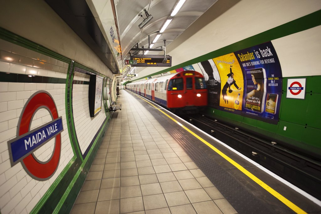 Stock Photo: 442-11103 Train at a subway station, London Underground, London, England