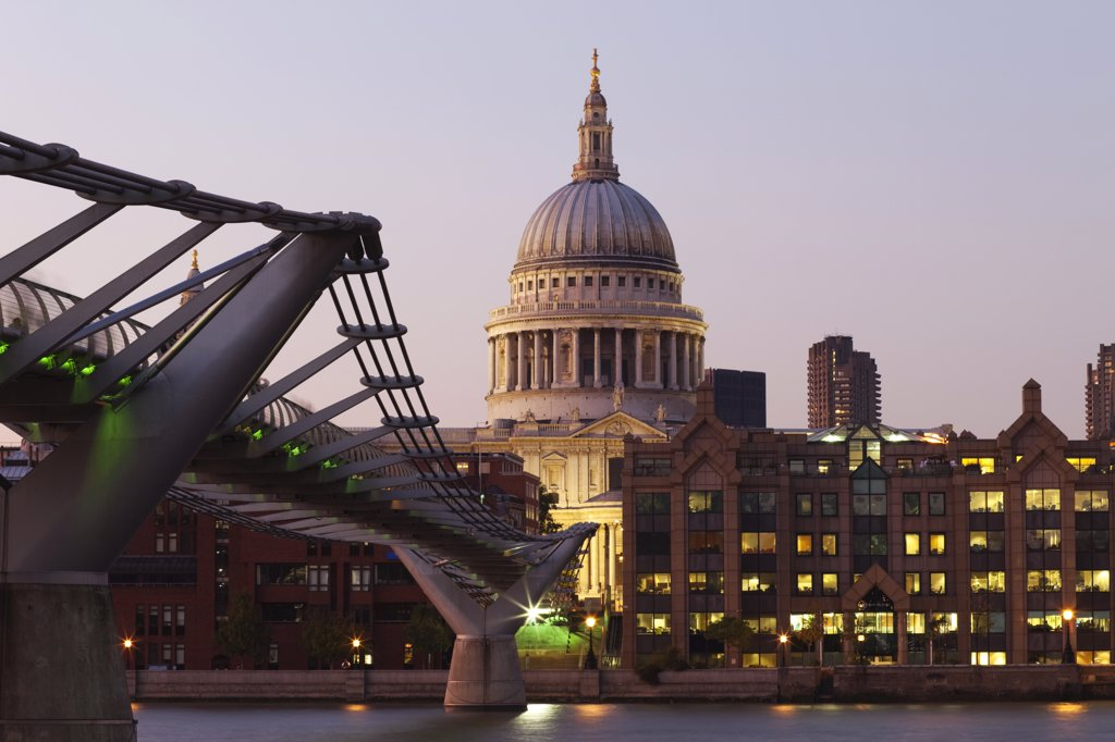 Stock Photo: 442-11120A Bridge across a river with a cathedral in the background, London Millennium Footbridge, St. Paul's Cathedral, City Of London, Thames River, London, England