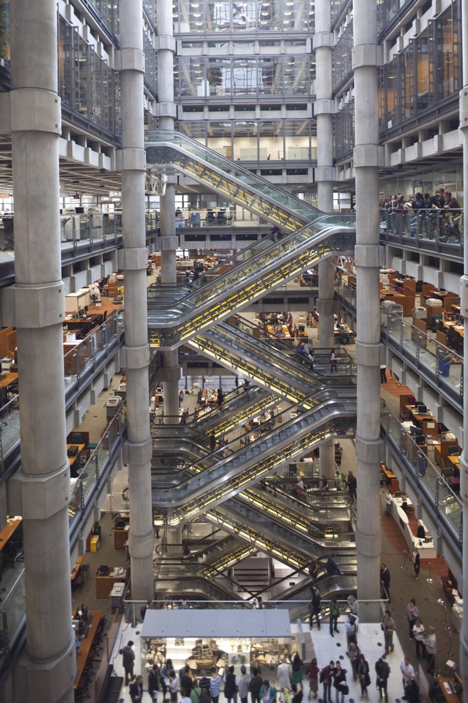 Stock Photo: 442-11139 Interiors of a building, Lloyds of London, City Of London, London, England