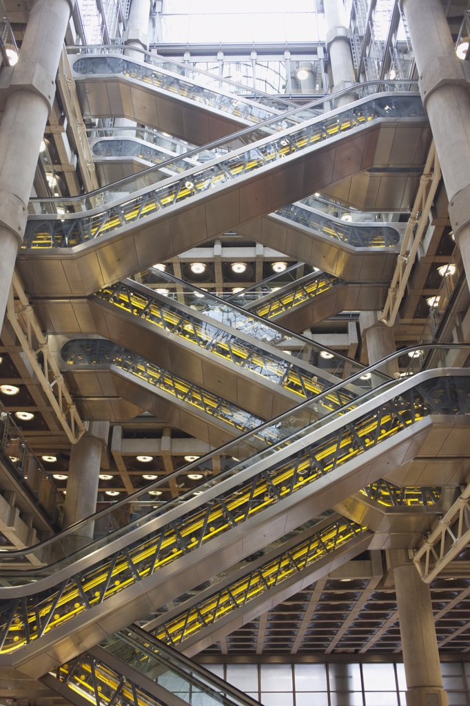 Stock Photo: 442-11141 Escalators in a building, Lloyds of London, City Of London, London, England