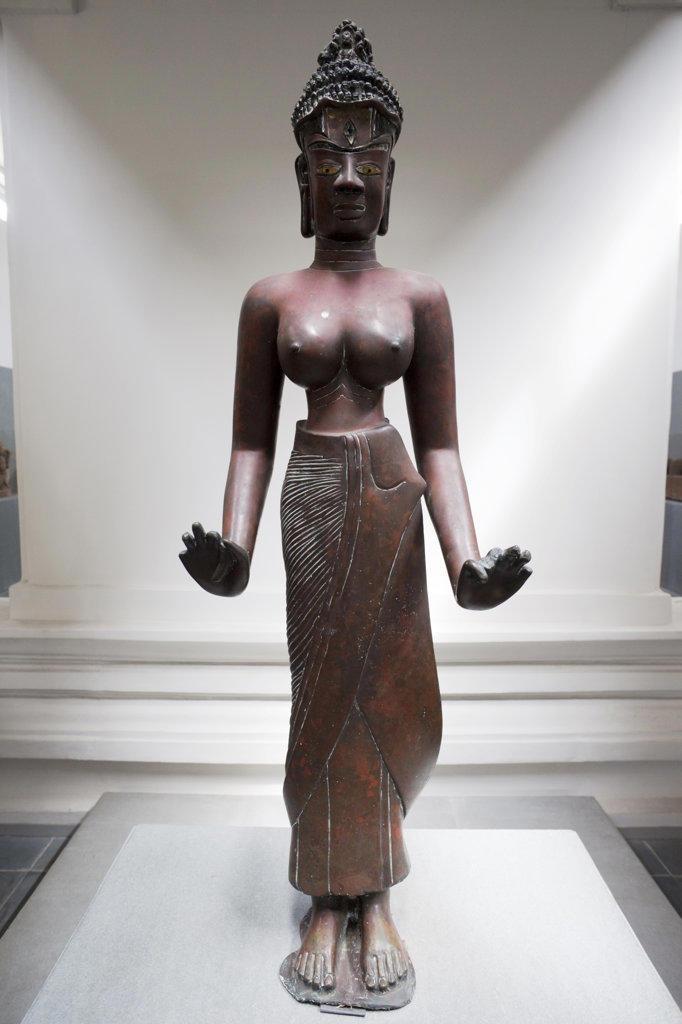 Stock Photo: 442-11189 Statue of Tara the female Bodhisattva in a museum, Museum Of Cham Sculpture, Danang, Vietnam
