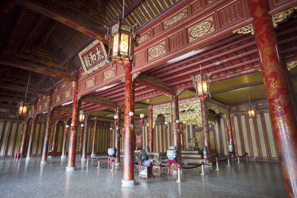 Stock Photo: 442-11200 Emperor's throne in palace, Thai Hoa Palace, Imperial City, Hue, Vietnam