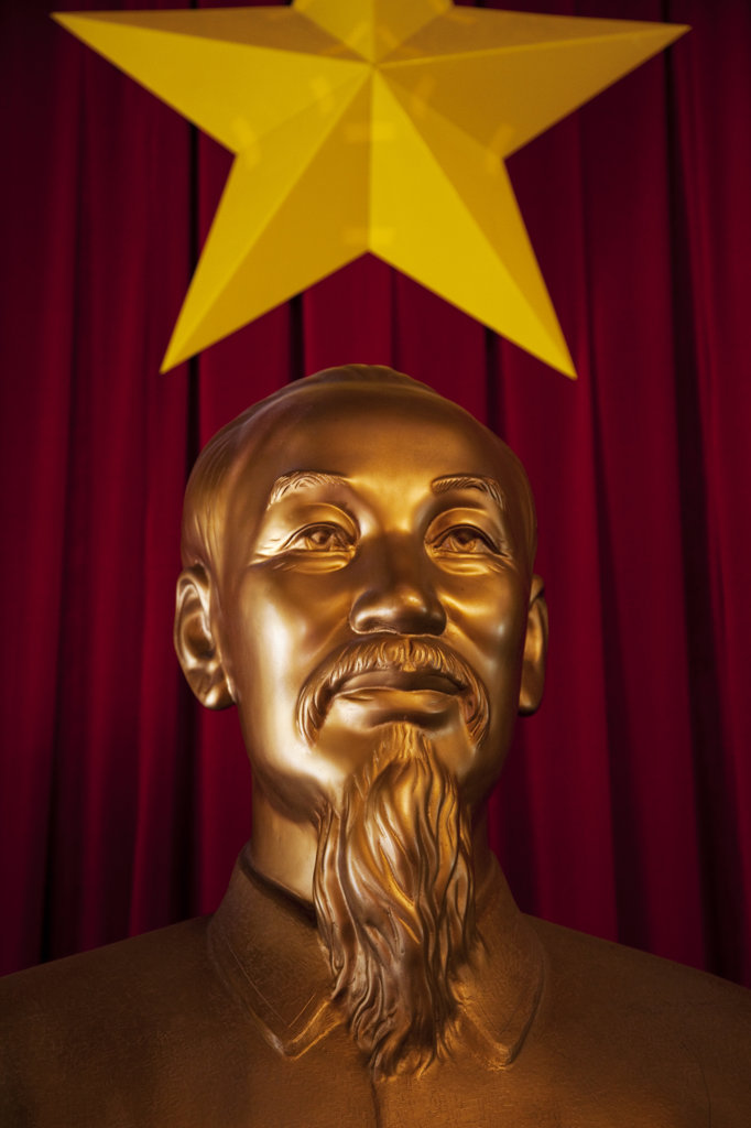 Stock Photo: 442-11208A Statue of Ho Chi Minh the Vietnamese communist statesman in a presidential palace, Reunification Palace, Ho Chi Minh City, Vietnam