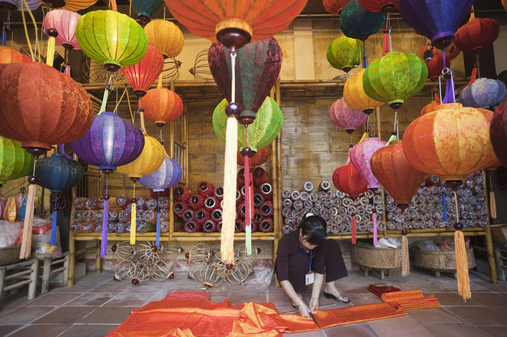 Stock Photo: 442-11234 Traditional paper lanterns in a store, Hoi An, Vietnam