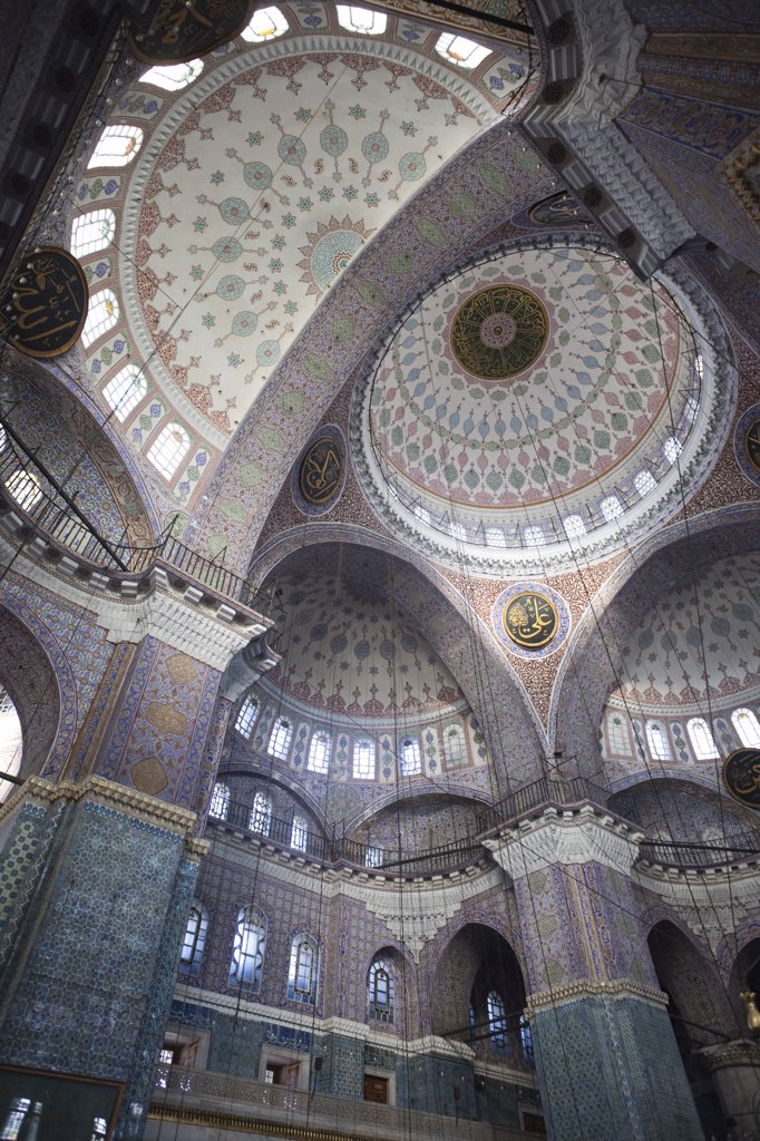 Stock Photo: 442-11331 Interiors of a mosque, New Mosque, Istanbul, Turkey