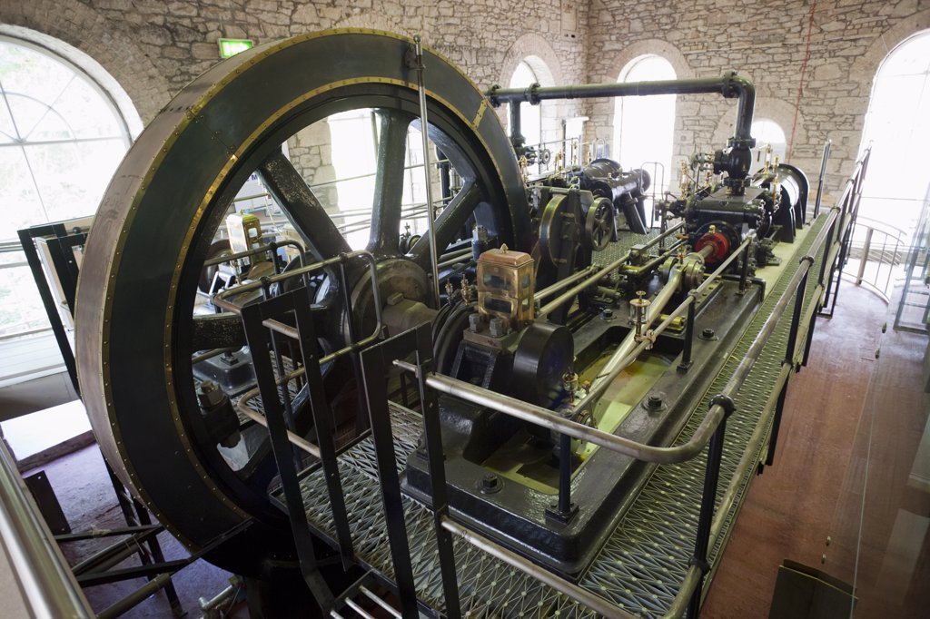 Victorian Steam Powered Engine in a factory, New Lanark, Lanark, Scotland : Stock Photo