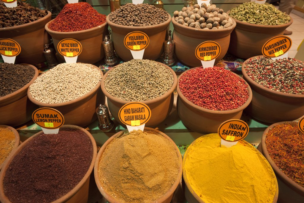 Spice shop display, Sultanahmet, Istanbul, Turkey : Stock Photo