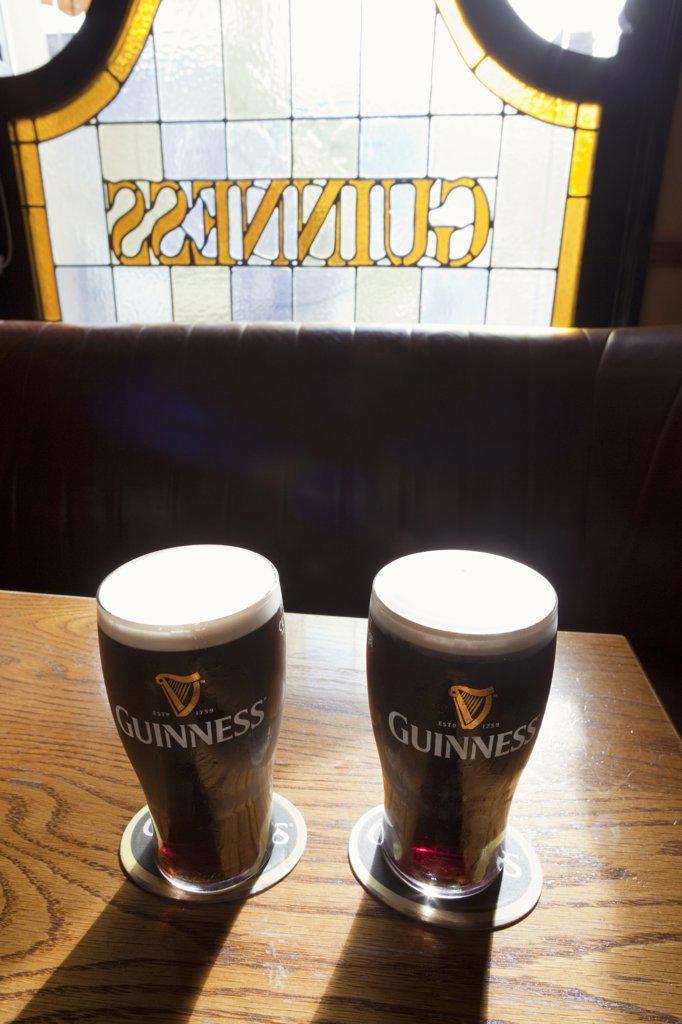 Ireland, Glasses of Guinness : Stock Photo