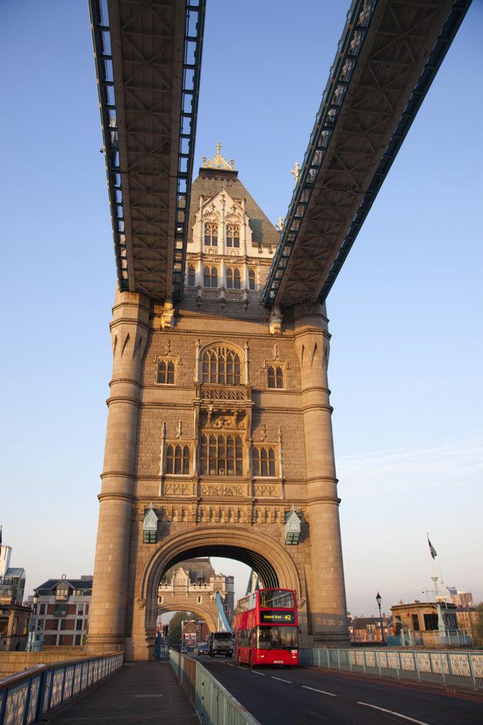 Stock Photo: 442-11526 UK, England, London, Tower Bridge and double-decker bus