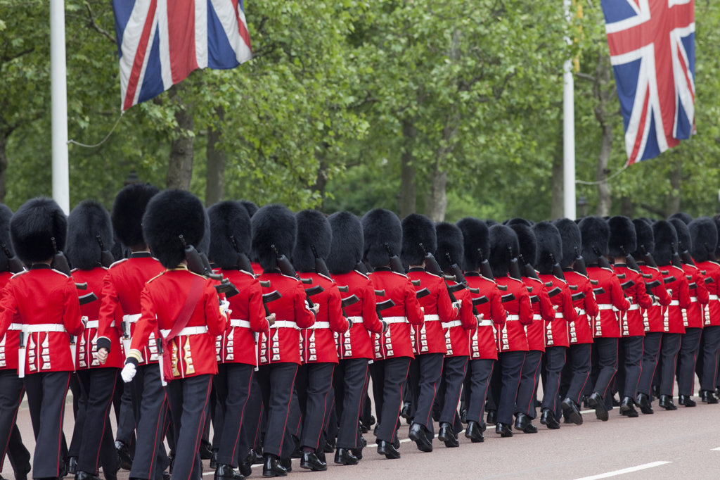 Stock Photo: 442-11571 UK, England, London, Changing of the Guard, British Royal Guard marching on street