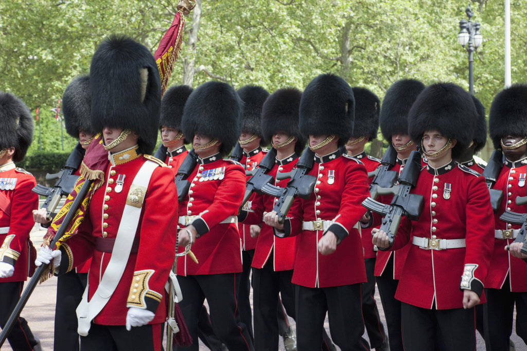 UK, England, London, Changing of the Guard, British Royal Guard marching on street : Stock Photo