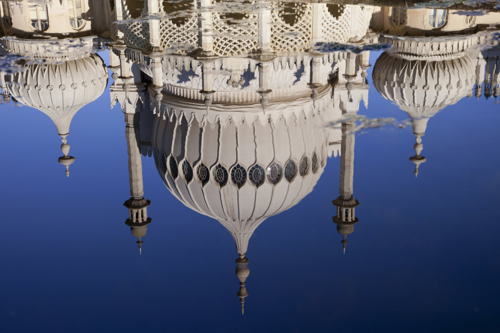 Stock Photo: 442-11595 UK, England, East Sussex, Brighton, Royal Pavilion reflecting in water