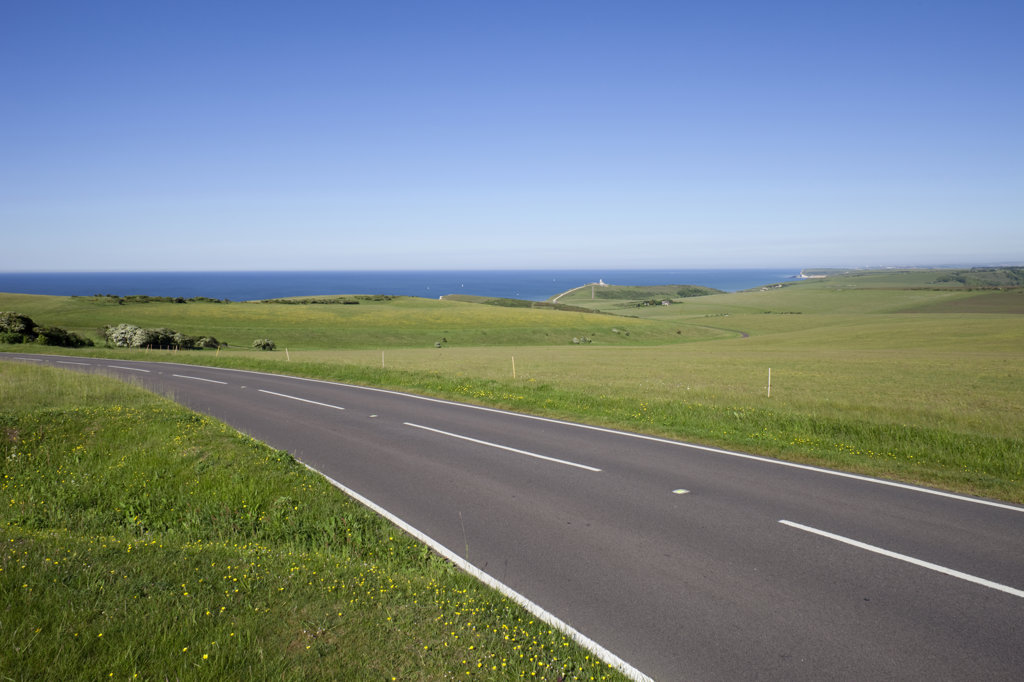 UK, England, East Sussex, empty road in South Downs National Park near Eastbourne : Stock Photo