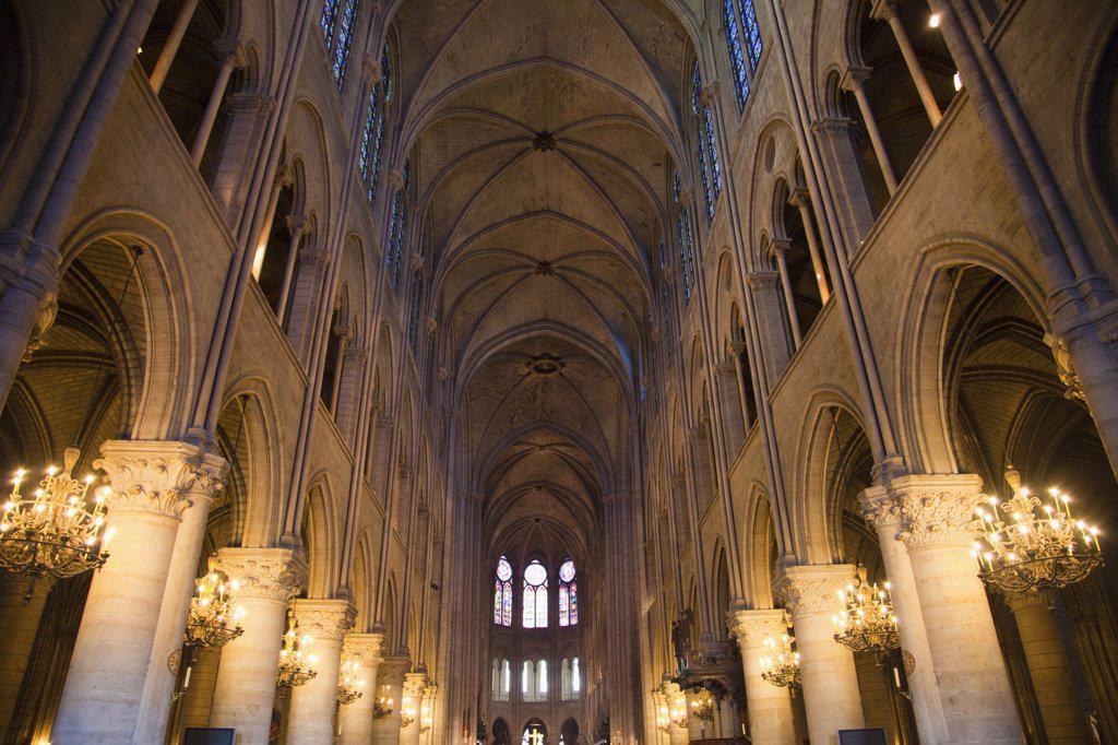 Interiors of a cathedral, Notre Dame, Paris, Ile-de-France, France : Stock Photo