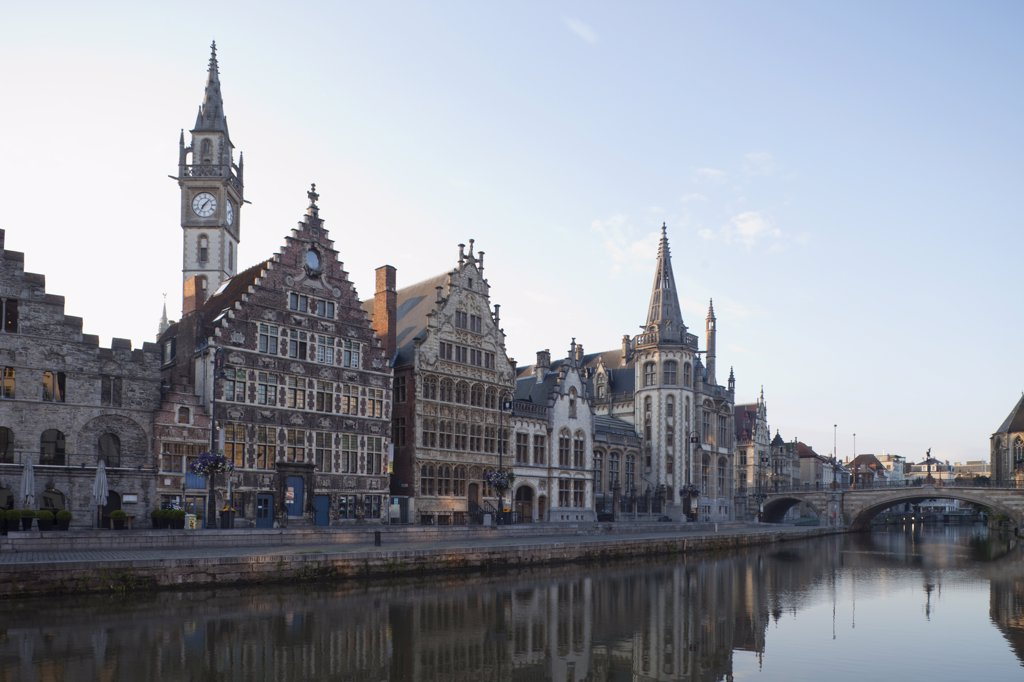 Belgium, Ghent, Guild houses on Graslei, : Stock Photo