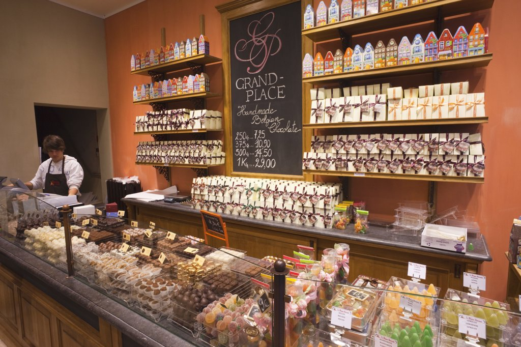 Belgium, Brussels, Chocolate shop interior : Stock Photo