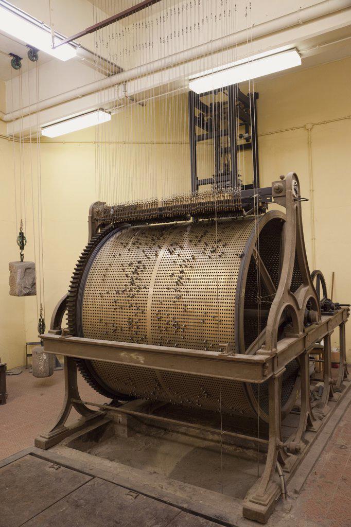 Belgium, Ghent, Carillon copper chiming drum in Belfry Tower Museum : Stock Photo