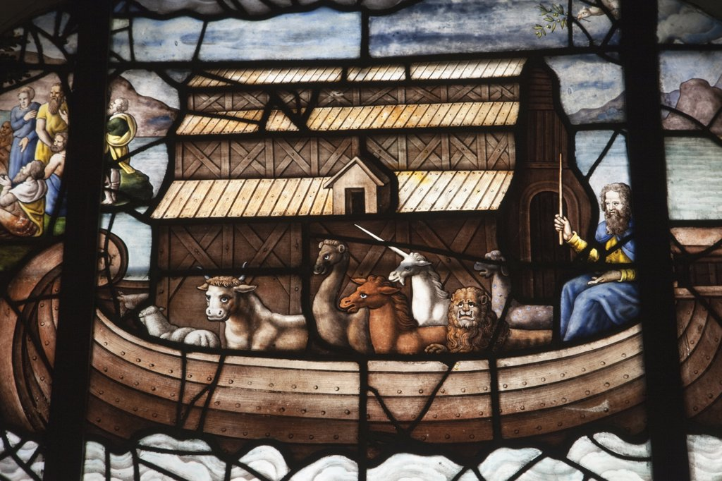 France,Paris,Eglise Saint-Etienne du Mont,Stained Glass Window Depicting Noah's Ark : Stock Photo