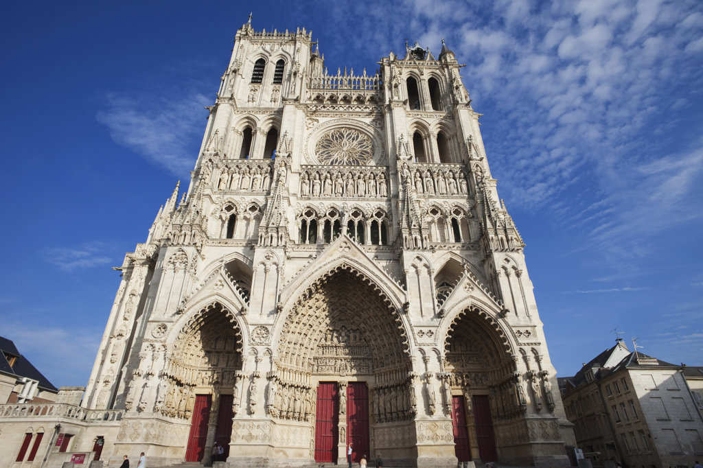 Facade of a cathedral, Notre Dame d'Amiens, Amiens, Somme, France : Stock Photo