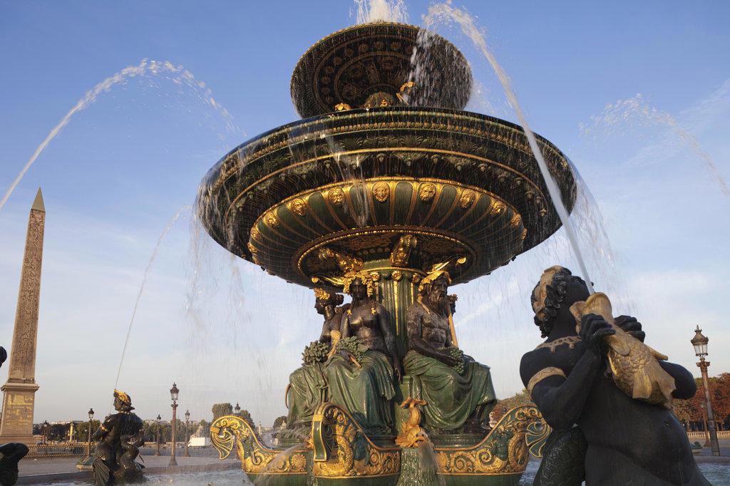 Stock Photo: 442-11977 Fountain in a city, La fontaine des mers, Place de la Concorde, Paris, France