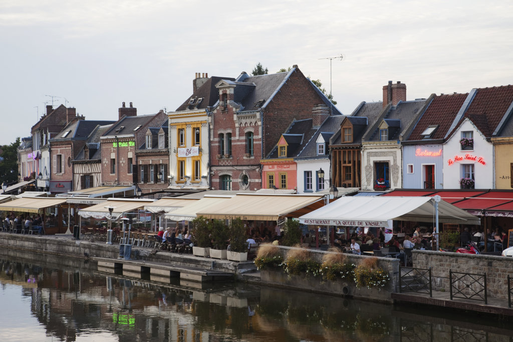Stock Photo: 442-11983 Buildings at the waterfront, Amiens, Somme, Picardy, France