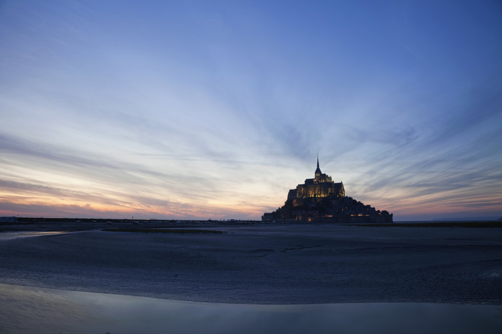 Cathedral at dusk, Mont Saint-Michel, Normandy, France : Stock Photo