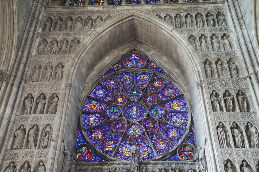 Stock Photo: 442-11987 Stained glass window of a cathedral, Reims Cathedral, Reims, Champagne, France