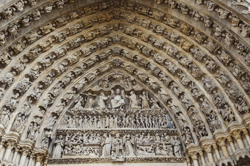 Stock Photo: 442-12006 Detail of the portal of The Last Judgment, Notre Dame d'Amiens, Amiens, Somme, France