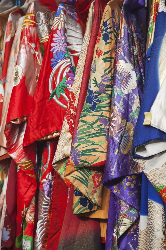 Kimonos hanging at a market stall, Tokyo Prefecture, Japan : Stock Photo