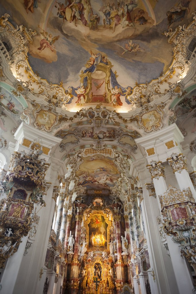 Stock Photo: 442-12070 Interiors of a cathedral, Wieskirche Church, Steingaden, Weilheim-Schongau, Bavaria, Germany