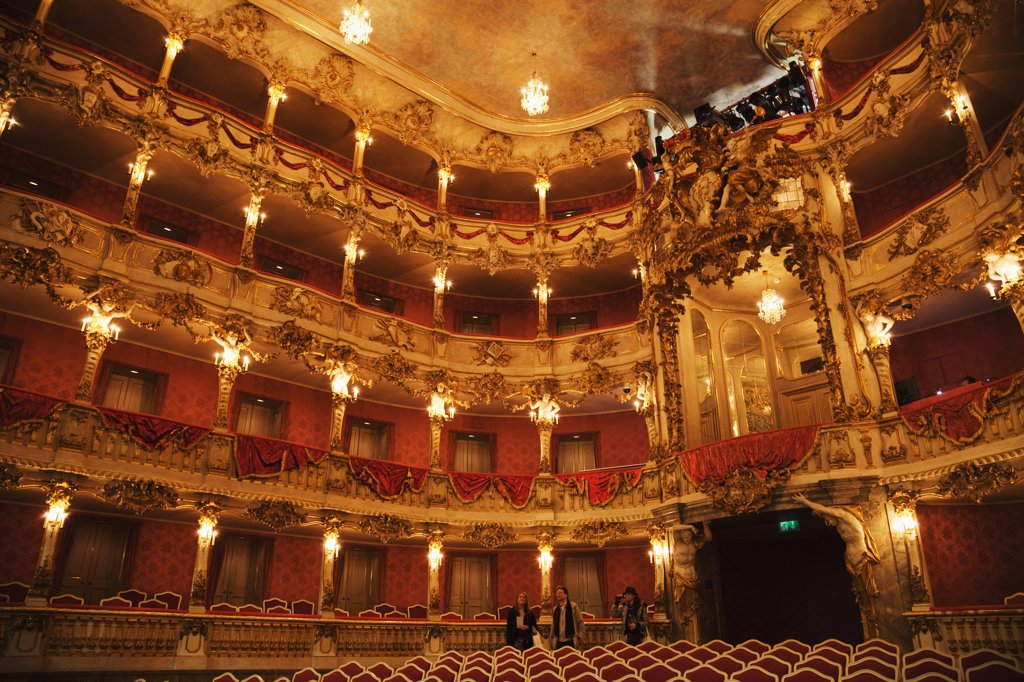 Stock Photo: 442-12198 Interiors of a theatre, Cuvillies Theatre, Munich Residenz, Munich, Bavaria, Germany