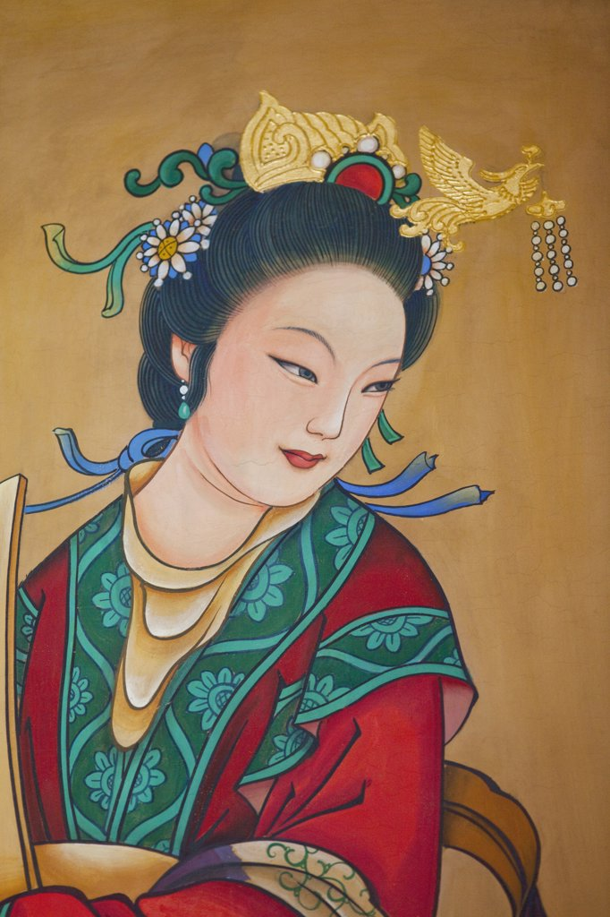 Mural of a woman on a wall, Buddhist Fragrance Pavilion, Summer Palace, Beijing, China : Stock Photo