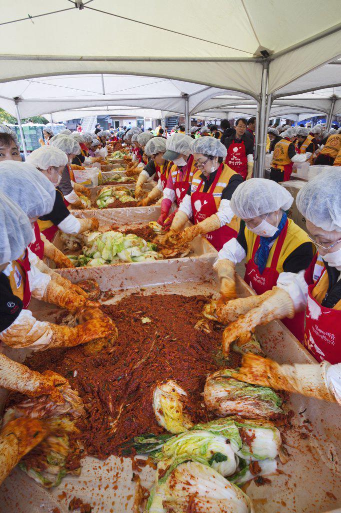 Women making Kimchi, Seoul, South Korea : Stock Photo