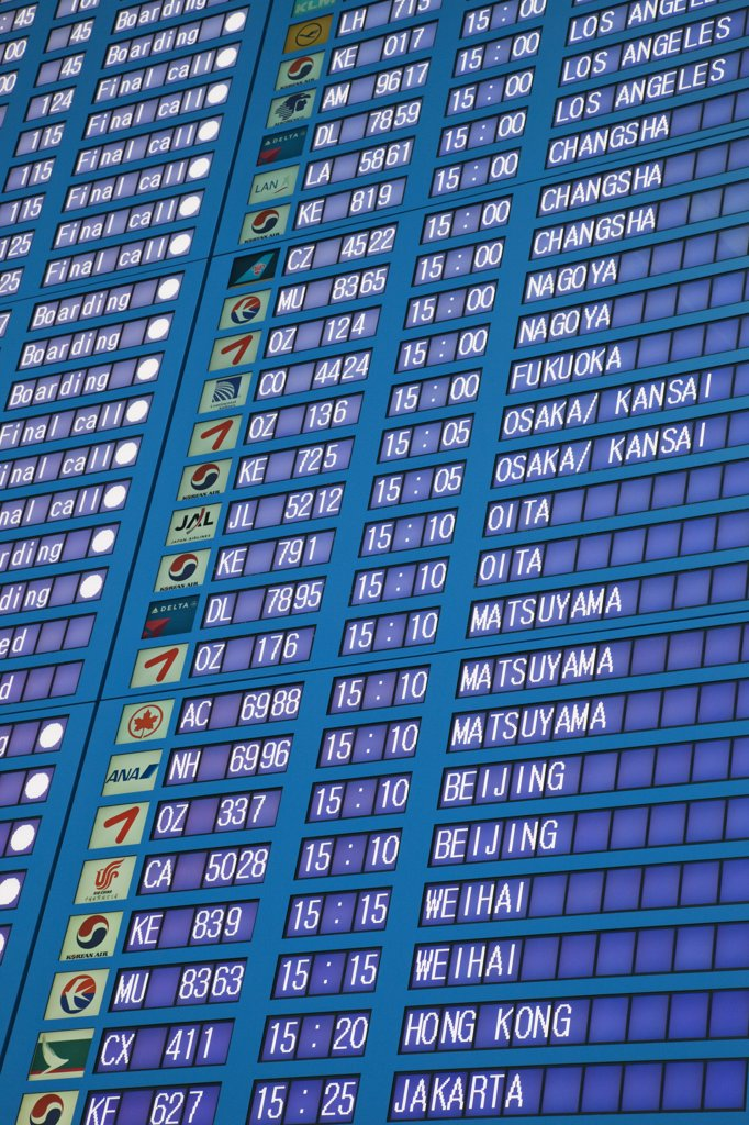 Stock Photo: 442-12298 Arrival departure board at an airport, Incheon International Airport, Seoul, South Korea