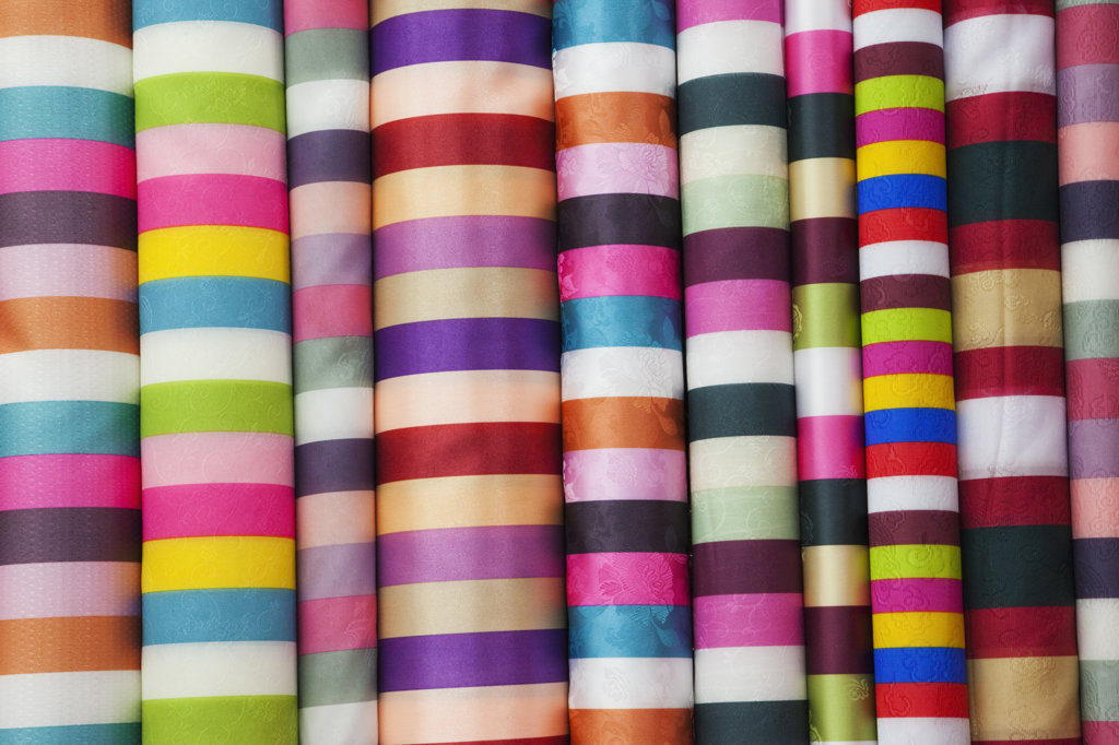 Fabric shop display, Dongdaemun Market, Seoul, South Korea : Stock Photo