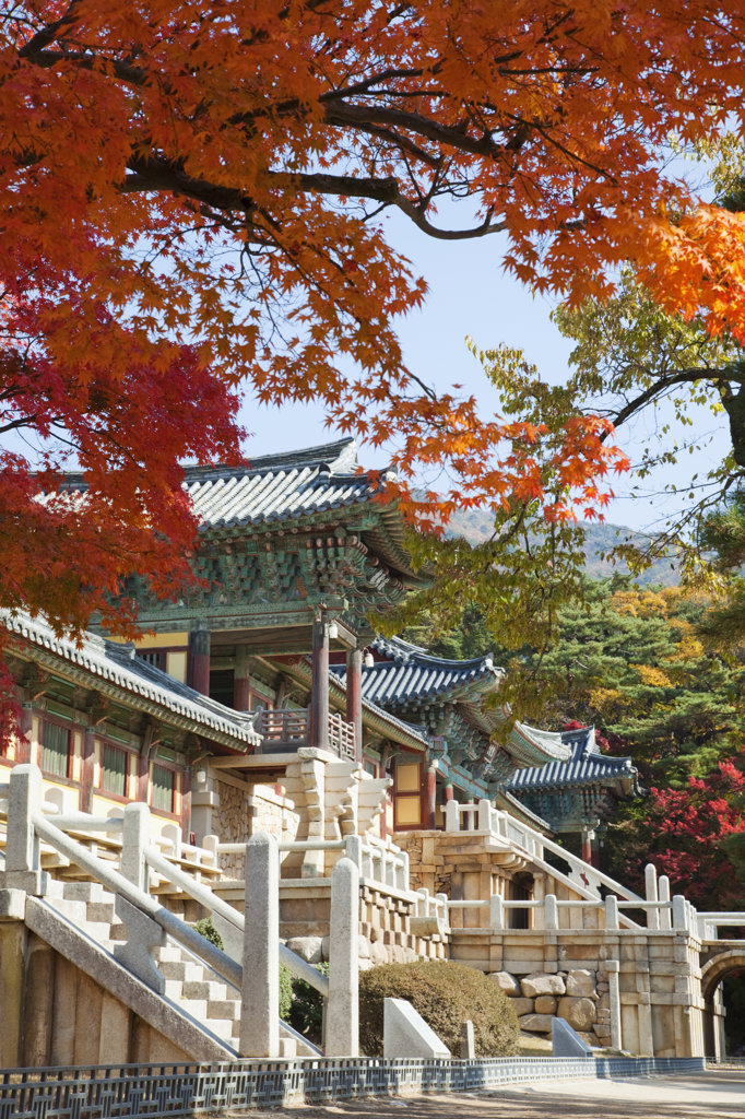 Facade of a Buddhist temple, Bulguksa Temple, Gyeongju, South Korea : Stock Photo