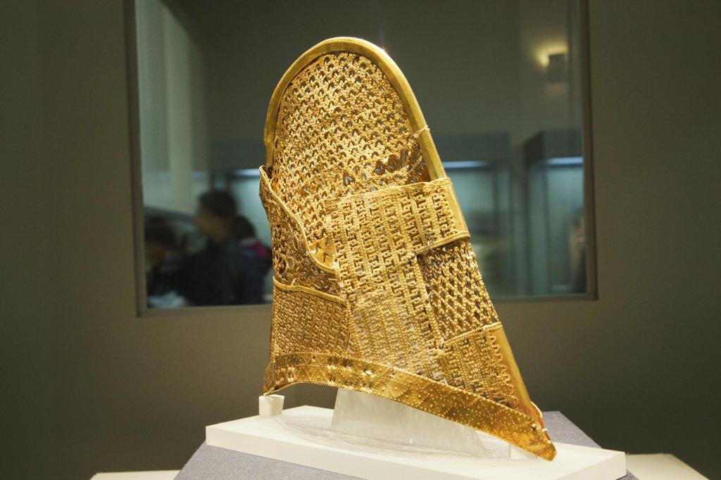 Golden cap in a museum, Gyeongju National Museum, Gyeongju, South Korea : Stock Photo