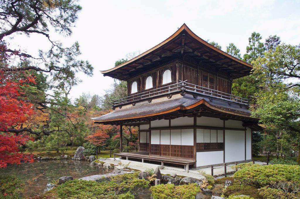 Trees near a temple, Ginkaku-ji, Kyoto City, Kyoto Prefecture, Kinki Region, Honshu, Japan : Stock Photo