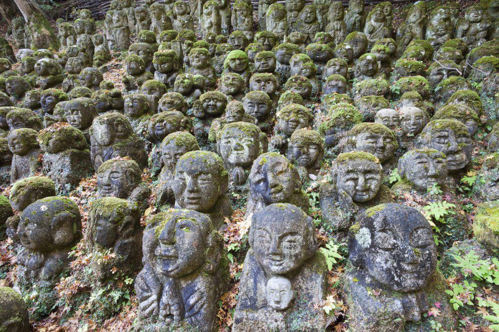 Statue in the garden of a temple, Otagi Nenbutsu ji Temple, Arashiyama, Kyoto Prefecture, Kinki Region, Honshu, Japan : Stock Photo