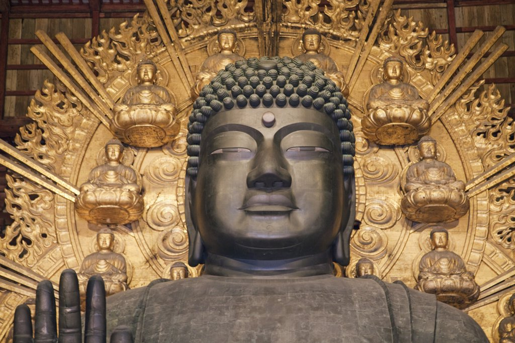 Stock Photo: 442-12567 Statue of Buddha in a temple, Todaiji Temple, Nara city, Nara Prefecture, Kinki Region, Honshu, Japan