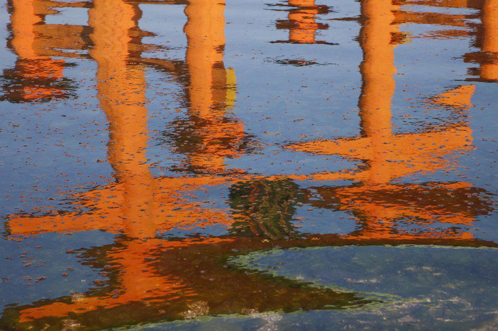 Reflection of Torii gate in water, Itsukushima Shrine, Miyajima, Itsukushima, Hiroshima Prefecture, Chugoku Region, Honshu, Japan : Stock Photo