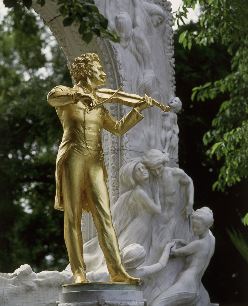 Close-up of a statue, Johann Strauss Monument, Stadtpark, Vienna, Austria : Stock Photo