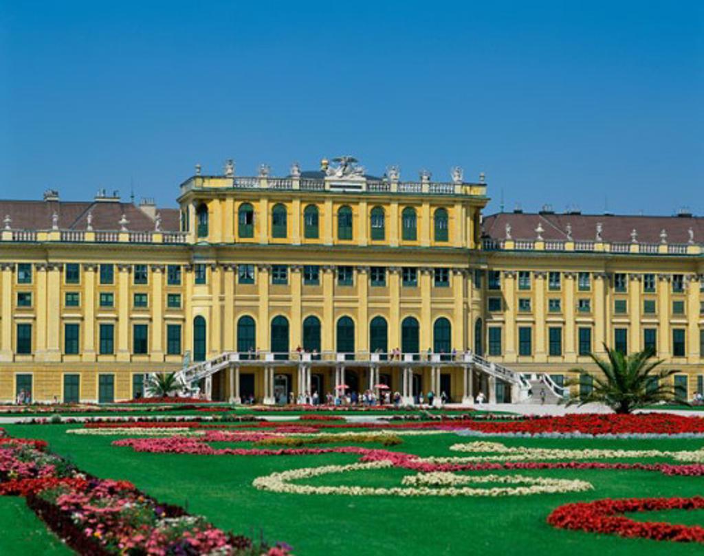 Stock Photo: 442-1327C Flowers in a garden outside Schonbrunn Palace, Vienna, Austria