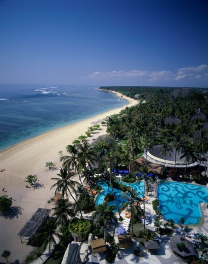 Stock Photo: 442-1457A High angle view of a beach, Sanur Beach, Bali, Indonesia