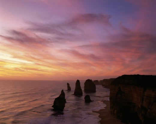 Stock Photo: 442-1688 Eroded rocks in the ocean, Twelve Apostles, Port Campbell National Park, Victoria, Australia