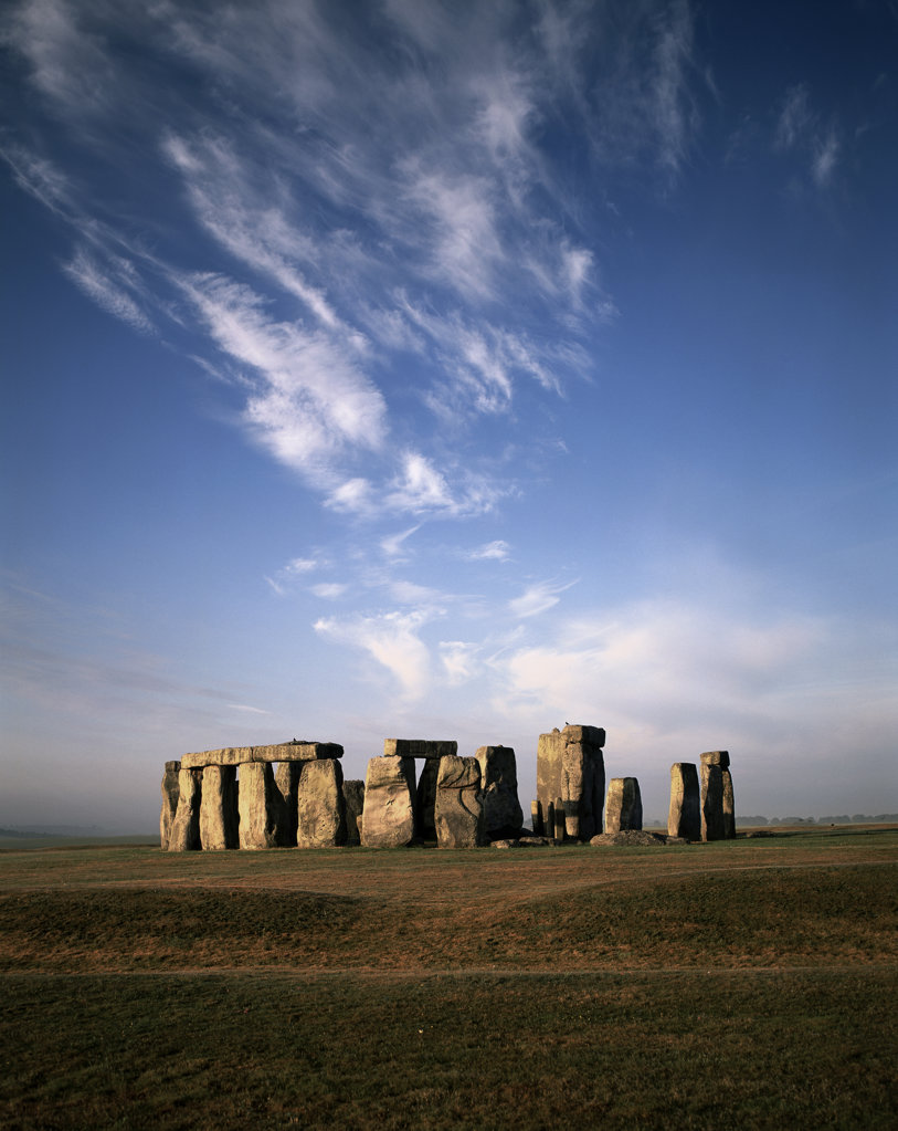 Stock Photo: 442-1767D Ancient stone structures on a landscape, Stonehenge, Wiltshire, England
