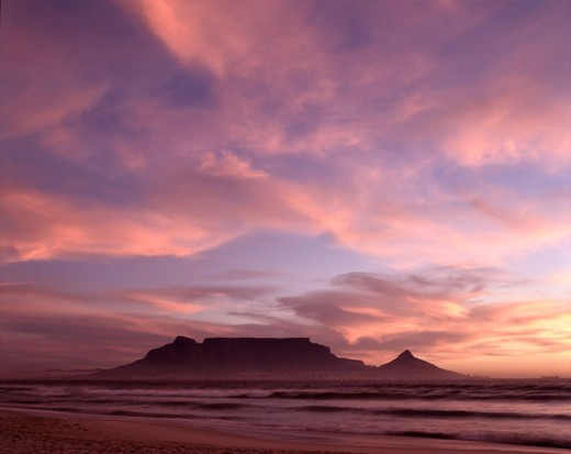 Clouds over a mountain, Table Mountain, Cape Town, South Africa : Stock Photo