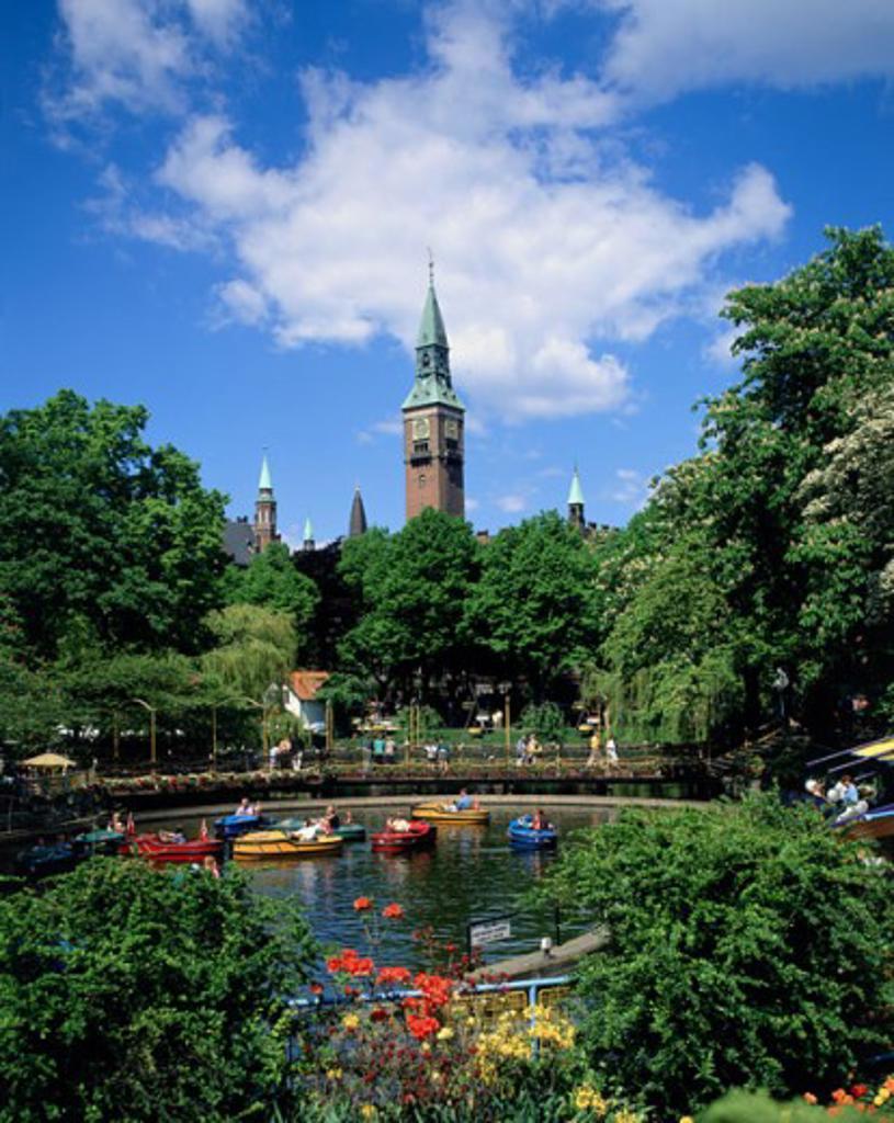 Pedal boats in a pond, Tivoli, Copenhagen, Denmark : Stock Photo