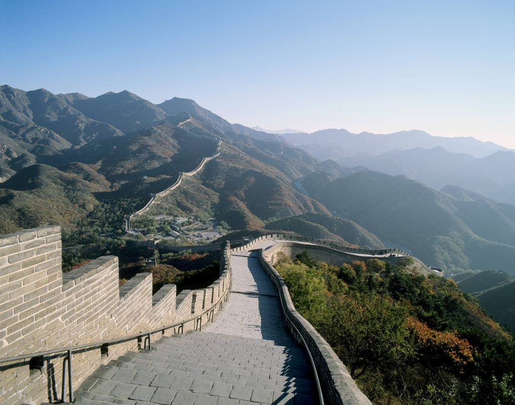 Stock Photo: 442-2851C High angle view of the Great Wall, Badaling Pass, China