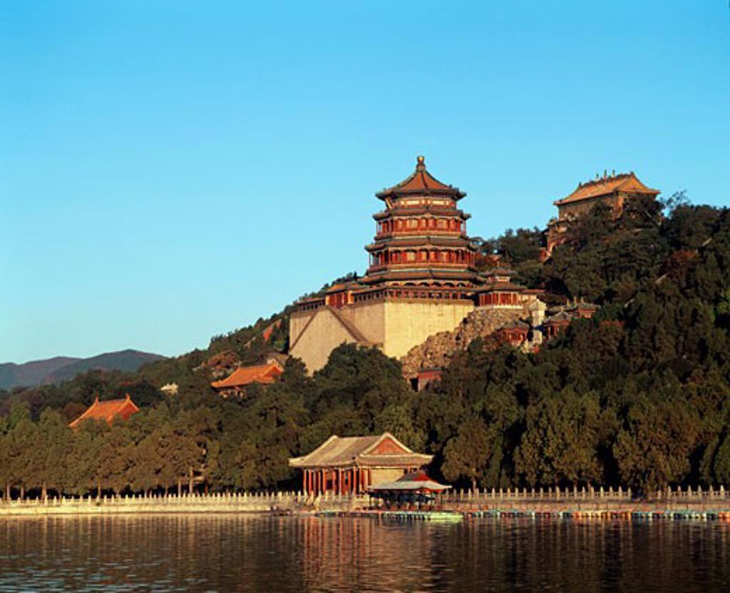 Palace on the waterfront, Summer Palace, Kunming Lake, Beijing, China : Stock Photo